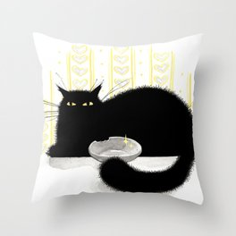 Hungry Cat Graphic Ink Sketch  Pet Animal Throw Pillow