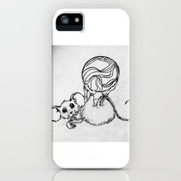 Mouse at Play Black and White sketch iPhone Case