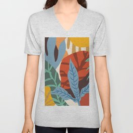 Bloom With Grace, Abstract Botanical Nature Painting, Colorful Eclectic Illustration Modern Unisex V-Neck