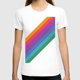 White & Rainbow Stripe T-shirt