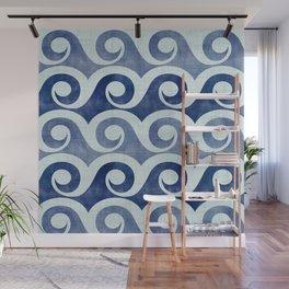 Retro Tropical Beach Waves - Indigo Blue Woodblock Wall Mural