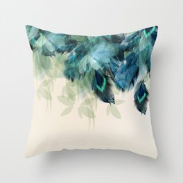 Beautiful Peacock Feathers Throw Pillow