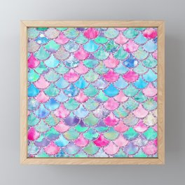 Colorful Pink and Blue Watercolor Trendy Glitter Mermaid Scales  Framed Mini Art Print