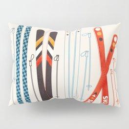 Retro Ski Illustration Pillow Sham