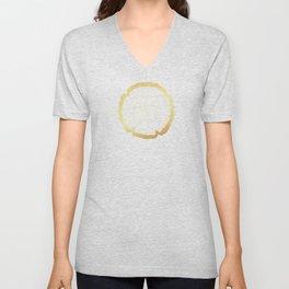 Metallic Gold Tree Ring on Black Unisex V-Neck