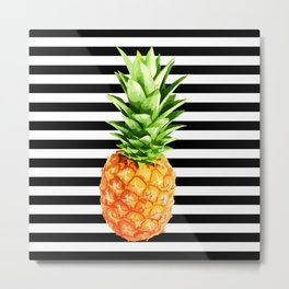 Pineapple, black stripes, kitchen poster, garden poster, Summer poster Metal Print