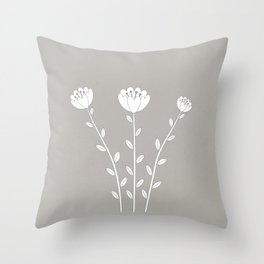 Simply Folk - White Poppies Throw Pillow