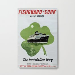 Fishguard-Cork Vintage Travel Poster Metal Print