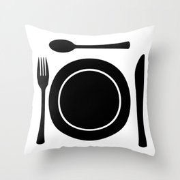 Metal Cutlery Plate Setting Throw Pillow