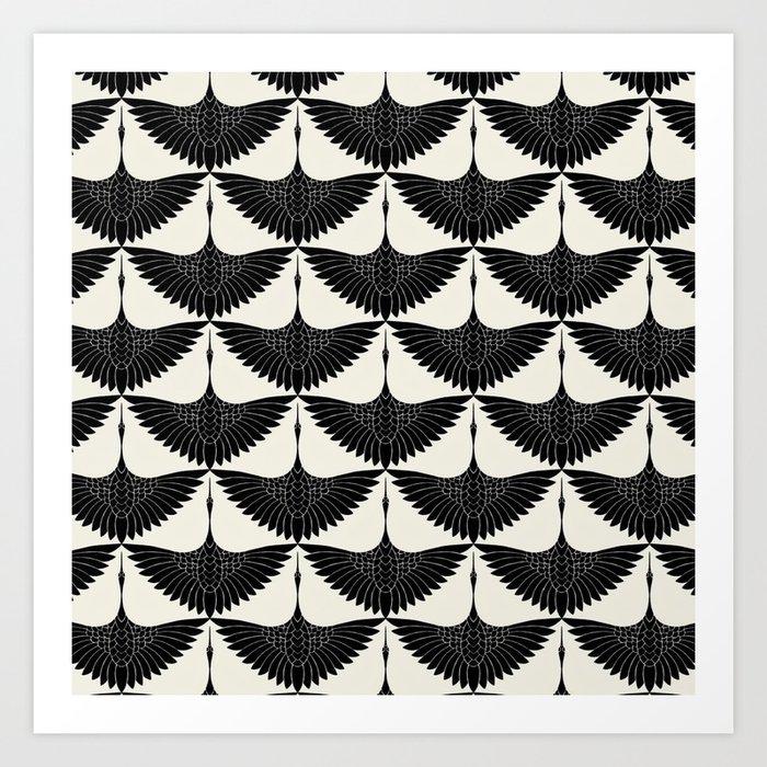 CRANE DESIGN - pattern - Black and White Kunstdrucke