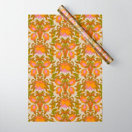 Orange, Pink Flowers and Green Leaves 1960s Retro Vintage Pattern Wrapping Paper