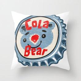Vintage Cola Bear Soda Pop Bottle Cap Throw Pillow
