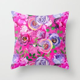 Hand Drawn Vintage Pink Shiny Cloudy Monet Botanical Flower Garden by UtART Throw Pillow