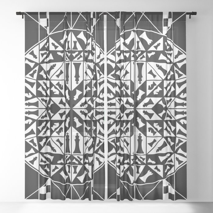 Chess Pieces Geometric Ornament Sheer Curtain