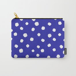 Hand-Drawn Dots (White & Navy Blue Pattern) Carry-All Pouch