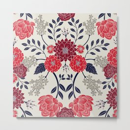Sophisticated Red, Navy Blue & Gray Floral Pattern Metal Print