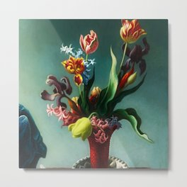 American Masterpiece 'Still Life with Spring Flowers' by Thomas Hart Benton Metal Print