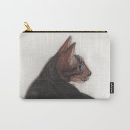 Dave the Bengal Cat, pastel, oil pastel, pencil, charcoal, by Candy Medusa, Black Dwarf Designs Carry-All Pouch