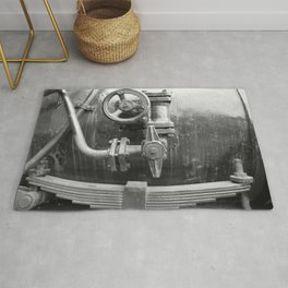 Old steam locomotive in the depot ZUG010CBx Le France black and white fine art photography by Ksavera Rug