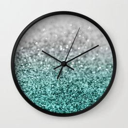 Silver Teal Ocean Glitter Glam #1 #shiny #decor #art #society6 Wall Clock
