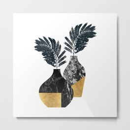 Gold + Marble Floral Vase Metal Print