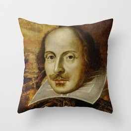 Vintage Portrait Painting of William Shakespeare (1609) Throw Pillow