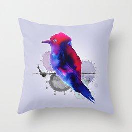 Purple spotty bird Throw Pillow