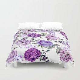 Elegant Girly Violet Lilac Purple Flowers Duvet Cover