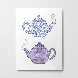 Patterned Teapots Metal Print