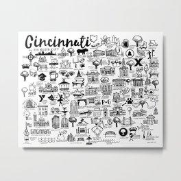 Cincinnati Ohio Map Metal Print