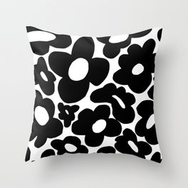 60s 70s Hippie Flowers Black Throw Pillow