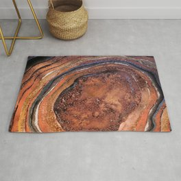 Hand drawn Watercolor Copper Glitter Stone and Ink Abstract Gem Glamour Marble Rug