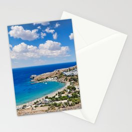 The village of Lindos with a beautiful bay, medieval castle and pictursque houses in Rhodes, Greece. Stationery Cards