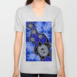 Baby Sea Turtles - Aboriginal Art Unisex V-Neck