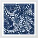 Octopus Vintage Map Blue Nautical Art by eveystudios