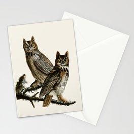 Great Horned Owl - Vintage Bird lllustration Stationery Cards