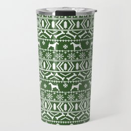 Airedale terrier fair isle silhouette christmas sweater green and white holiday dog gifts Travel Mug