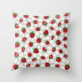 Sweet Strawberries - light grey Throw Pillow