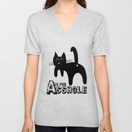 A is for ASSHOLE Cat design grunge font Unisex V-Neck