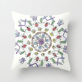Garden Friends Mandala Throw Pillow