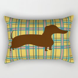 Autumn Jamboree Plaid Harvest Corn with Dachshund Rectangular Pillow