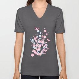 Cherry Blossom Landscape Unisex V-Neck