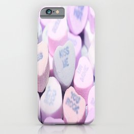 Kiss Me Love Candy Hearts iPhone Case