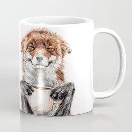 """ Morning fox "" Red fox with her morning coffee Kaffeebecher"