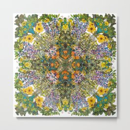Spring Wildflower Bloom at Colorado Lagoon in California, Mandala Metal Print