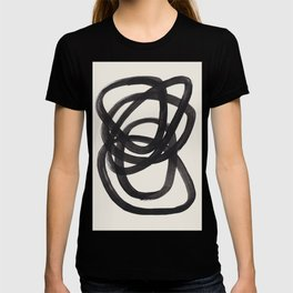 Mid Century Modern Minimalist Abstract Art Brush Strokes Black & White Ink Art Spiral Circles T-Shirt