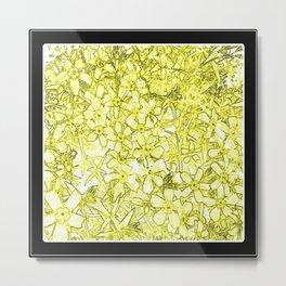 Yellow Flox Flower Pattern Metal Print