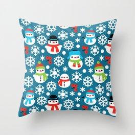 Snowmans & Snowflakes Throw Pillow