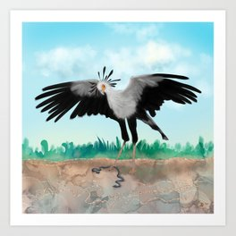 The Secretary Bird and the Snake - African Wildlife Creatures Art Print