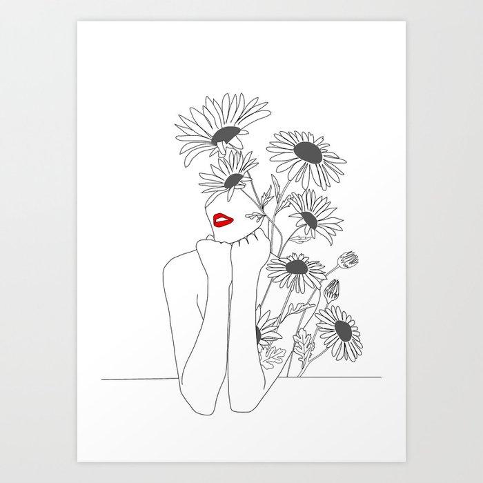 Minimal Line Art Girl with Sunflowers Art Print
